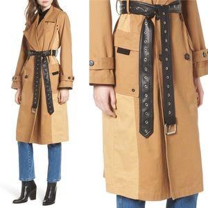 Avec Les Filles Colorblock Cotton Trench Coat NEW